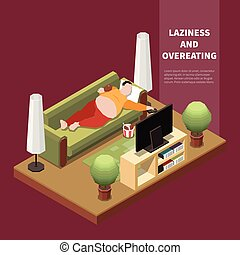 Gluttony Isometric Ilustration - Suffering from gluttony fat...