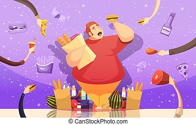 Gluttony Leading To Obesity Poster - Gluttony leading to ...