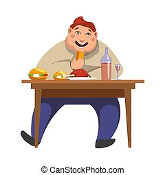 Gluttony man eating vector people bad habits - Gluttony or ...