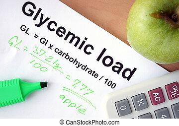 glycemic, cargamaento, papel, fórmula
