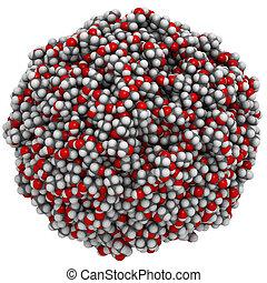 Glycerol (glycerine) molecules, liquid sphere model. ...