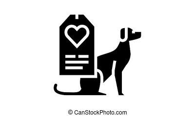glyph, étiquette, amour, icône, animation, chien