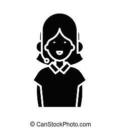 glyph, イラスト, 概念, アイコン, ベクトル, オンラインで, チャット, 印。, 平ら, 黒, シンボル