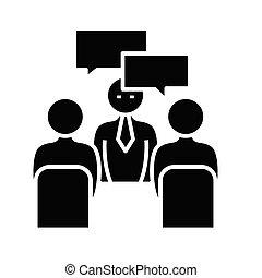 glyph, イラスト, 概念, 議題, アイコン, ベクトル, 印。, 平ら, 黒, ミーティング, シンボル