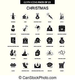 glyph, ベクトル, セット, クリスマス, アイコン