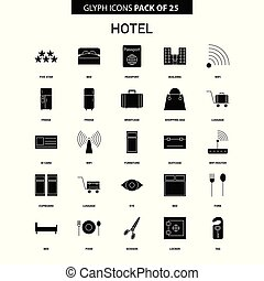 glyph, ホテル, ベクトル, セット, アイコン