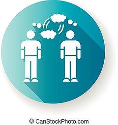 glyph, 債券, 友人, icon., 平ら, デザイン, コミュニケーション, 長い間, シルエット, 接続, rgb, 青, 影, イラスト, 理解, empathy, 相互, 心理上である, sympathy., 色, interpersonal, friendship.