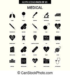 glyph, 医学, ベクトル, セット, アイコン