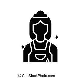 glyph, 女, 平ら, 黒, 概念, アイコン, 印。, 清掃, シンボル, ベクトル, イラスト