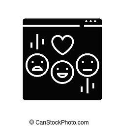 glyph, 平ら, emoji, 黒, 概念, アイコン, 印。, チャット, シンボル, ベクトル, イラスト