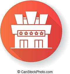 glyph, 映画館, アイコン, 影, 赤, デザイン, 平ら, 長い間