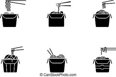 glyph, alimento, cartón, packages., silueta, chino, conjunto...