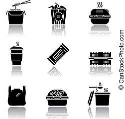 glyph, alimento, tallarines, set., wings., barra, sombra, ...