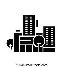 glyph, apartamento, centro, pretas, conceito, educação, ícone, sinal., símbolo, vetorial, ilustração
