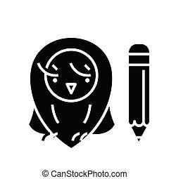 glyph, apartamento, elementar, pretas, conceito, educação, ícone, sinal., símbolo, vetorial, ilustração