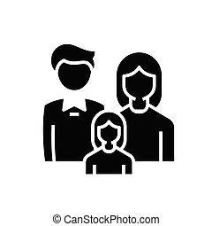 glyph, apartamento, membros, pretas, conceito, ícone, sinal., símbolo, vetorial, família, ilustração