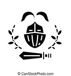 glyph, apartamento, pretas, educação, conceito, ícone, sinal., poder, símbolo, vetorial, ilustração
