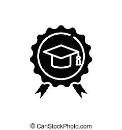 glyph, apartamento, pretas, educação, conceito, ícone, sinal., símbolo, vetorial, ilustração