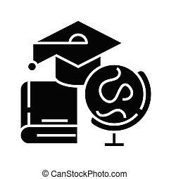 glyph, apartamento, pretas, educação, conceito, ícone, sinal., símbolos, símbolo, vetorial, ilustração