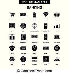 glyph, banque, vecteur, ensemble, icône