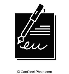 glyph, dokument, płaski, czarnoskóry, pojęcie, wykonanie, ikona, poznaczcie., symbol, wektor, ilustracja