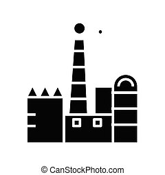 glyph, fabryka, płaski, czarnoskóry, pojęcie, ikona, poznaczcie., symbol, wektor, ilustracja