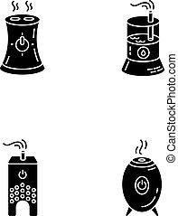 glyph, humidifiers, silhouette, feuchtigkeit, satz, abbildung, vektor, haushaltsgerã¤te, steuerung, räumlichkeiten, freigestellt, klima, space., heiligenbilder, wasser, wasserwaage, regulators., evaporators, schwarz, luft, weißes, symbols., haushalt