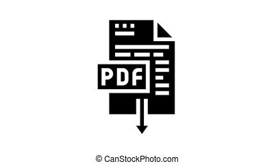 glyph, icône, animation, téléchargement, pdf, fichier