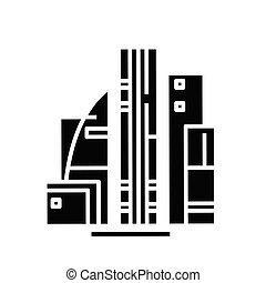 glyph, icône, noir, illustration, bureau, vecteur, plat, symbole, concept, signe., bâtiments