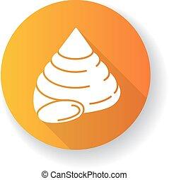 glyph, icono, sombra, largo, amarillo, cáscara, cima, diseño...