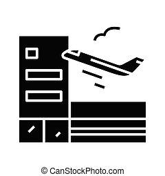 glyph, ikona, samolot, start, czarnoskóry, ilustracja, ...