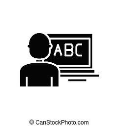glyph, ilustração, conceito, ícone, vetorial, online, sinal., apartamento, pretas, educação, símbolo