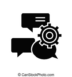 glyph, ingenjörsvetenskap, lägenhet, svart, begrepp, ikon, skylt., pratstund, symbol, vektor, illustration