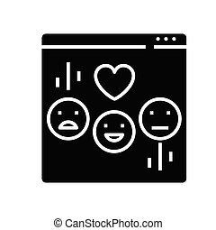 glyph, lägenhet, emoji, svart, begrepp, ikon, skylt., pratstund, symbol, vektor, illustration