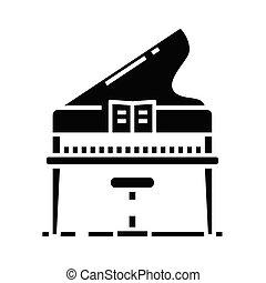 glyph, música, ícone, pretas, ilustração, vetorial, apartamento, símbolo, educação, conceito, sinal.