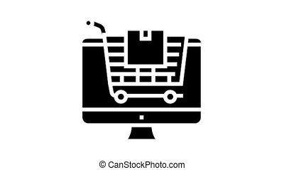 glyph, magasin, icône, animation, ligne