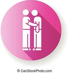 glyph, obligatie, vrienden, icon., plat, ontwerp, lang, silhouette, vriendelijk, rgb, roze, schaduw, helpen, relationship., illustratie, vriendschap, assistance., medelijden, solidarity., emotioneel, kleur, interpersonal, steun