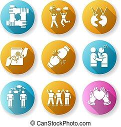 glyph, obligatie, vriendschap, plat, ontwerp, set., support., lang, silhouette, rgb, sympathie, schaduw, relationship., illustratie, interpersonal, genegenheid, wederzijds, iconen, emotioneel, sociaal, kleur, sterke, togetherness