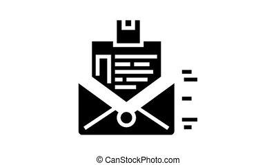 glyph, ordre, envoi, icône, animation, lettre