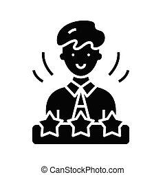 glyph, płaski, czarnoskóry, pojęcie, miesiąc, pracownik, ikona, poznaczcie., symbol, wektor, ilustracja