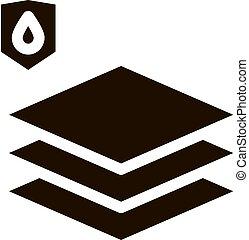 glyph, piso, limoleum, material, icono, impermeable
