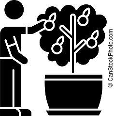 glyph, plant., icon., cuidado, silueta, fruta, fruiting, ...