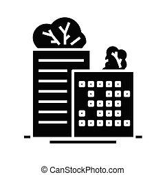 glyph, plat, bâtiments, noir, concept, icône, eco, signe., symbole, vecteur, illustration