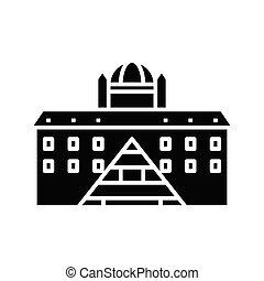 glyph, plat, bâtiments, noir, concept, icône, signe., symbole, vecteur, différent, illustration