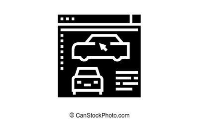 glyph, programme, voiture, animation, icône, modelage