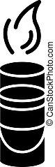 glyph, sambuca, icon., sbarra, silhouette, alcolico, notte, illustrazione, vettore, infocato, isolato, ricreazione, colpo, club, simbolo, space., cocktail, fiammeggiante, urente, bevanda, ozio, nero, bianco, caldo