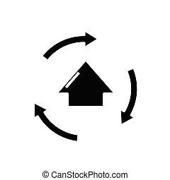 glyph, tarea, mudanza, icono, negro, ilustración, vector, plano, símbolo, concepto, signo.