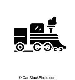 glyph, trem, ícone, pretas, ilustração, vetorial, apartamento, símbolo, conceito, antigas, sinal.