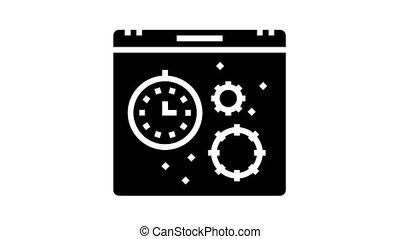glyph, virus, saison, icône, calendrier, animation