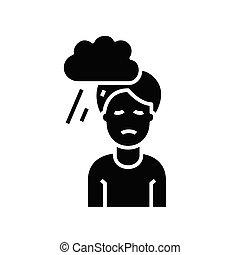 glyph, wohnung, klima, schwarz, begriff, besessenheit, ikone, zeichen., symbol, vektor, abbildung